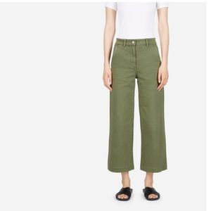 Everlane The Wide Leg Green Crop Pant
